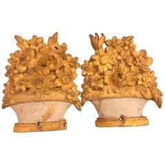Pair of Provençal Flower Basket Carvings