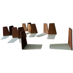 Midcentury Danish Teak and Metal Bookends