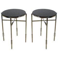 American Modern Polished Chrome & Granite Occasional Tables, Michael Graves