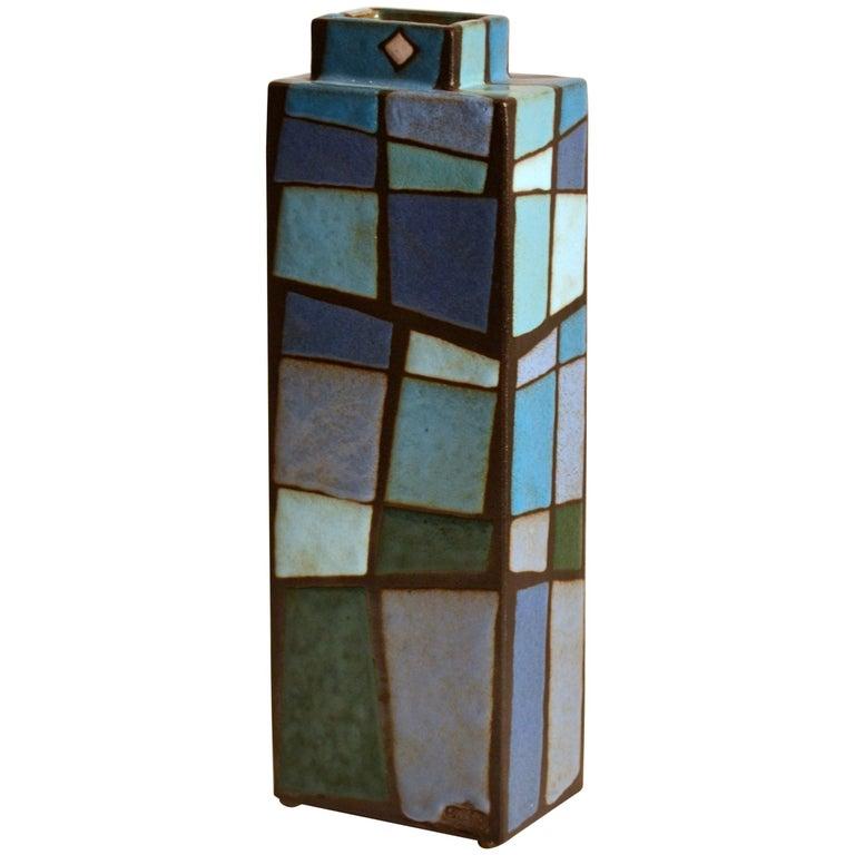 Midcentury Studio Pottery Rectangular Vase in Blue Tones by Swano