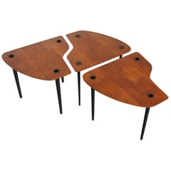 """Pierre Cruege Documented Free-Form Tripod Nesting Tables """"Partroy"""" France, 1950s"""
