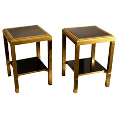 Pair of French Brass Square Side Tables with Two-Level Black Glass Shelves