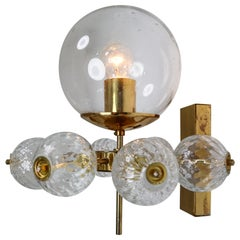 Large Set of 20 Hotel Wall Chandeliers with Brass Fixture, European, 1970s
