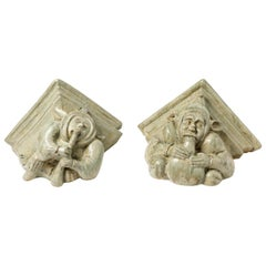 Rare Pair of Decorative Wall- Mounted Ceramic by Alfred Renoleau, circa 1900