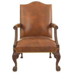 English Chippendale Style Mahogany Carved Open Armchair