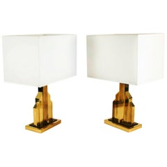 Unique Rare Pair of Table Lamps by Romeo Rega, Brass and Bakelite, Italy, 1970s
