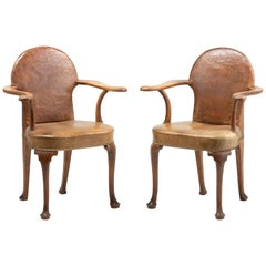 Pair of Edwardian Oak and Leather Armchairs, circa 1900