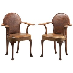 Pair of Edwardian Oak and Leather Armchairs, England, circa 1900