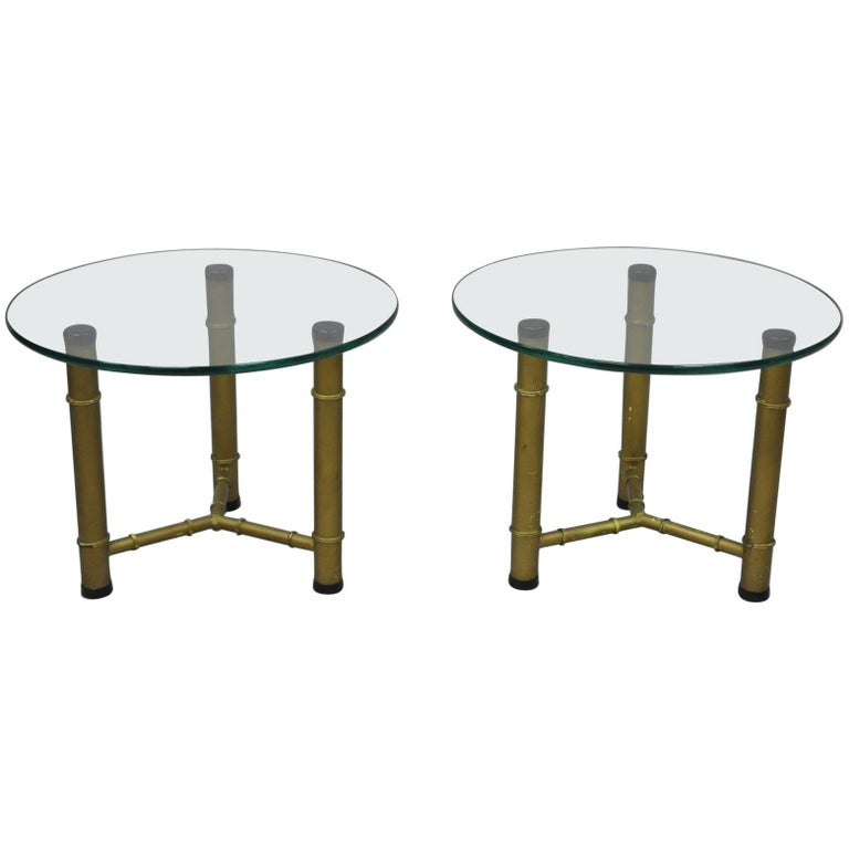Pair Of Metal Faux Bamboo Round Glass Top Low Side End Tables - Bamboo end table glass top