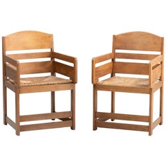 Arts & Crafts Oak Armchairs, circa 1920