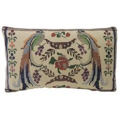 Vintage Petite Green and Red Woven Turkish Lumbar Decorative Pillow
