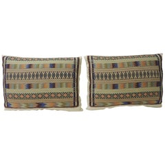 Pair of Vintage Green and Orange Turkish Woven Decorative Bolster Pillows