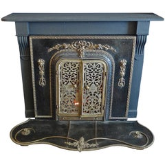 American 1960s Metal, Bronze and Wood Faux Electric Fire Place