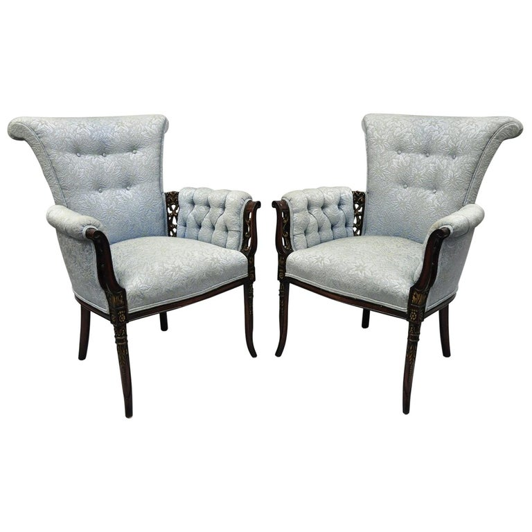Pair of Carved Mahogany Fireside Armchairs French Hollywood Regency Blue Chairs