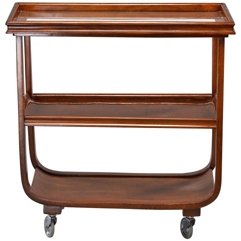 English Wooden Bar or Tea Trolley with Removable Tray
