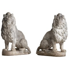 Monumental Pair of Cast Stone Lions