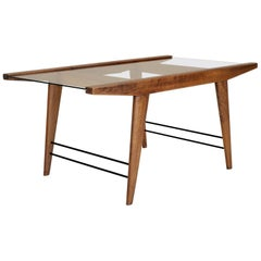 Modernist Coffee Table in Mahogany, Brass and Glass, France, 1950