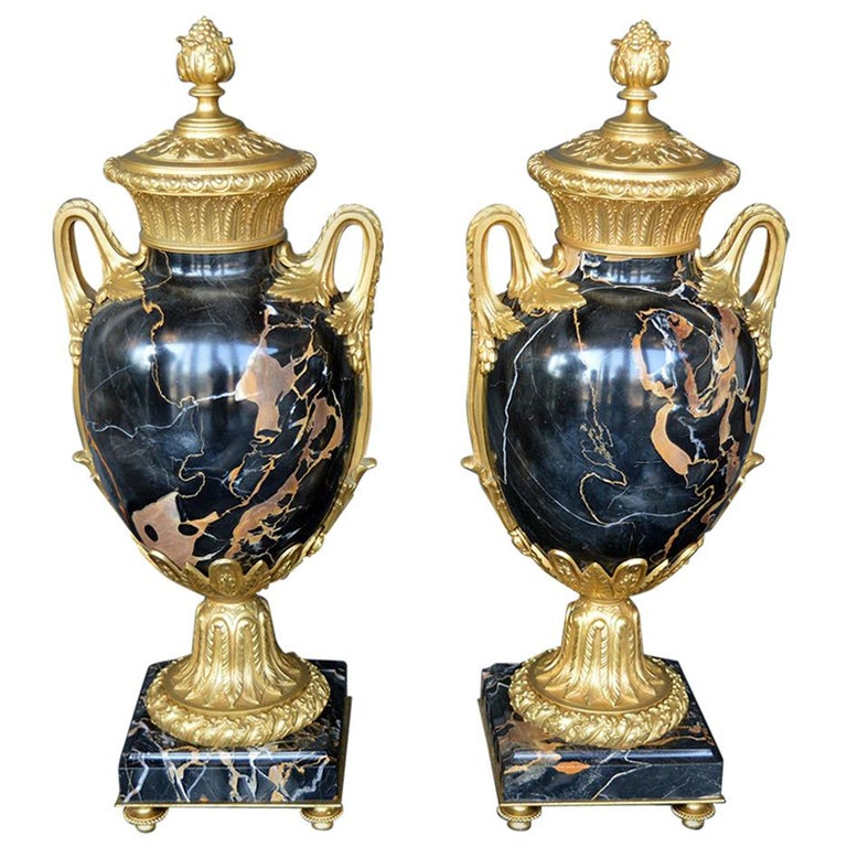 Late 19th Century Marble and Bronze Vases For Sale