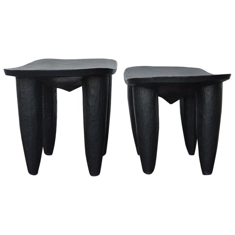 Set of Two african Midcentury Wooden Side Tables For Sale