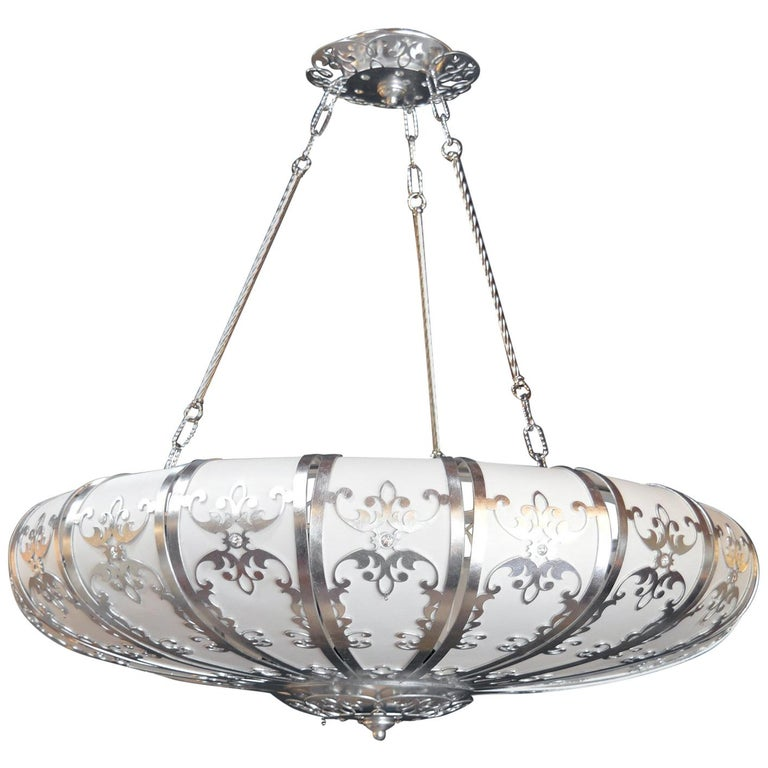 Silverleafed UFO Style Chandelier For Sale