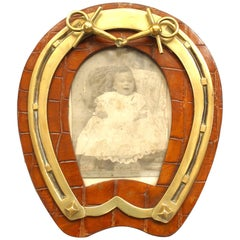 English Victorian Horseshoe Shaped Easel Picture Frame