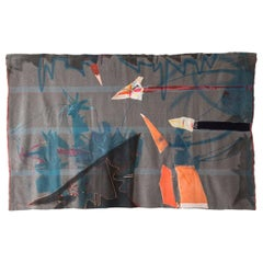 'Flytape' Quilt Painting Wool Tapestry Textile Art, in Stock