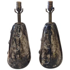 Rare Pair of Ercole Barovier Crepuscolo Glass Lamps