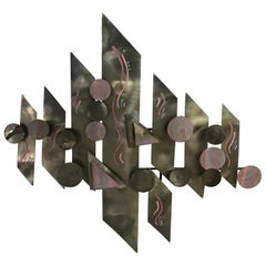 Postmodern Aluminium Wall Sculpture, Signed