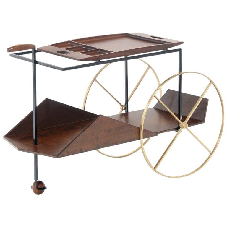 Midcentury Modern Bar Cart by Jorge Zalszupin, Contemporary Re-Edition by Etel