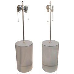 Pair of Karl Springer Style Lucite Table Lamps