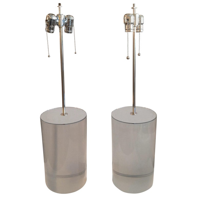 Pair of Karl Springer Style Lucite Table Lamps For Sale