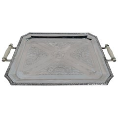 Antique German Art Nouveau Rococo Silver Serving Tray
