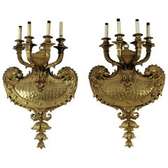 Fabulous, Massive Pair of Louis XIV Style Doré Bronze Sconces with Lions