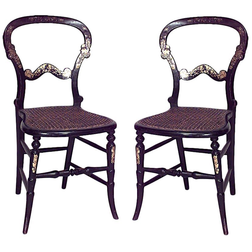Pair of English Victorian Papier Mache and Pearl Side Chairs