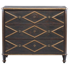 Black English Chest with Gold Diamond Detail