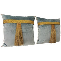 Pair of 19th Century Green and Gold Silk Velvet Decorative Pillows with Tassels