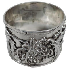 Chinese Export Silver Napkin Ring with Blossoming Branch