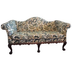 Crewel-Work Green and Yellow Camel Back Upholstered Settee