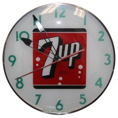 1950s-1960s 7UP Soda Advertising Light up Wall Clock