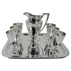 Tiffany Sterling Silver Drinks Set with Pitcher & Goblets on Tray