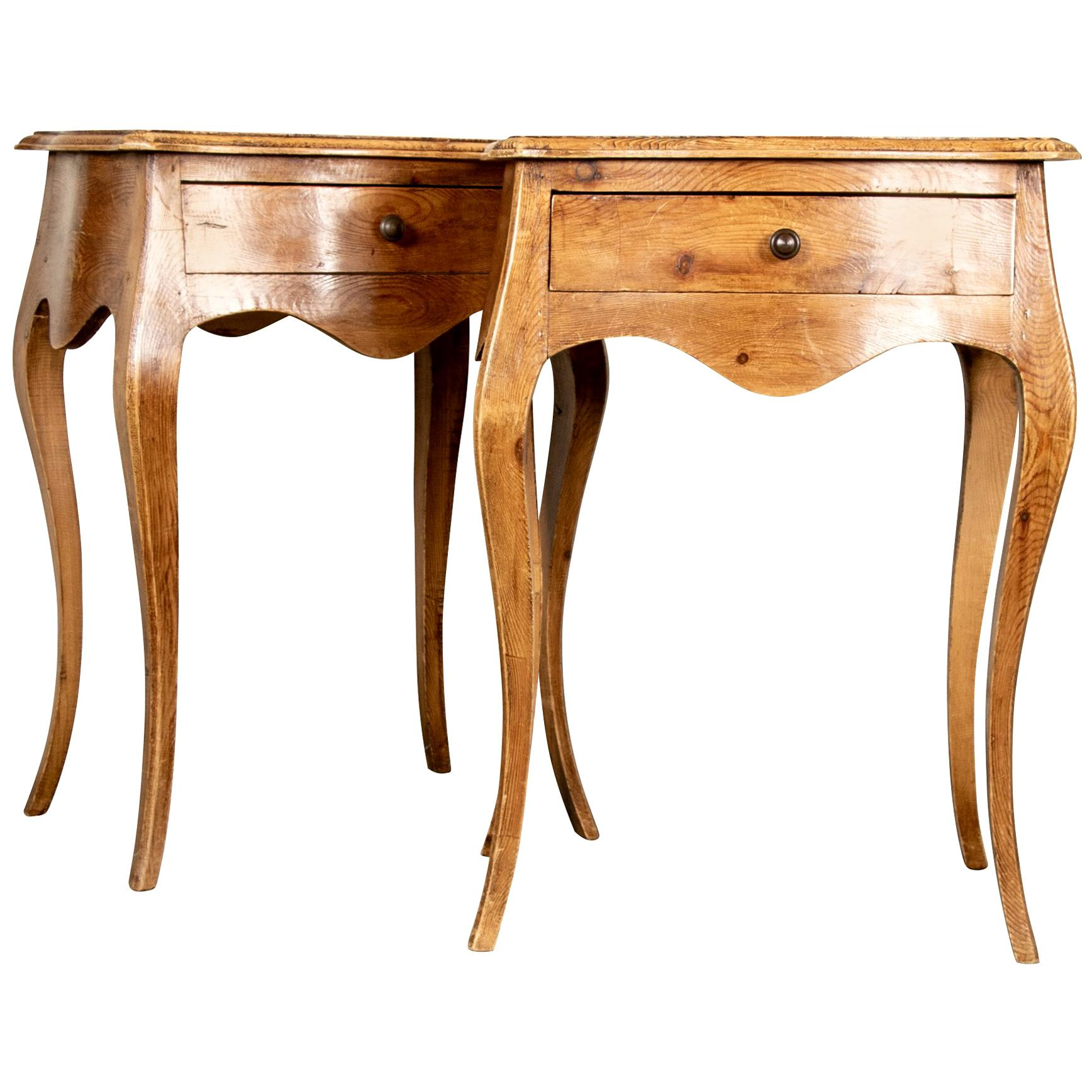 Pair Of French Style Side Table Or Nightstands From Antique Wood