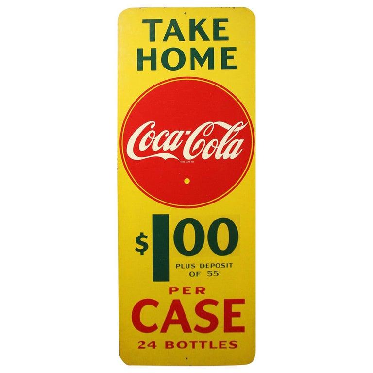 1940s Coca Cola Masonite Vertical Advertising Sign