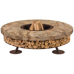 Ercole Small Rain Forest Brown Marble Fire Pit by AK47 Design