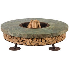 Ercole Small Rain Forest Green Marble Fire Pit by AK47 Design