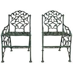 "Early Rustic Cast Iron Garden Chairs ""Twig"" Faux Bois by Fiske"