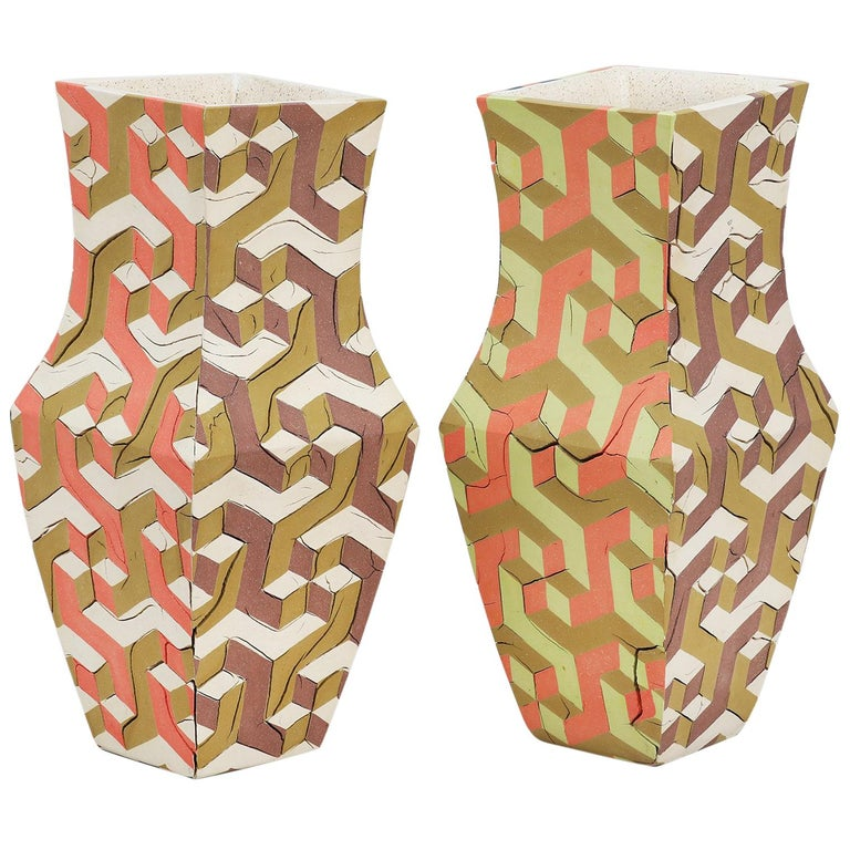 "Cody Hoyt ""Curved Walls (Twins)"" Pair of Ceramic Vessels For Sale"