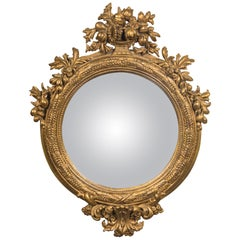 Giltwood English Regency Convex Mirror