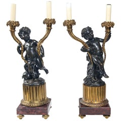 Pair of 19th Century, Patinated and Lacquered Bronze Putti Candelabra