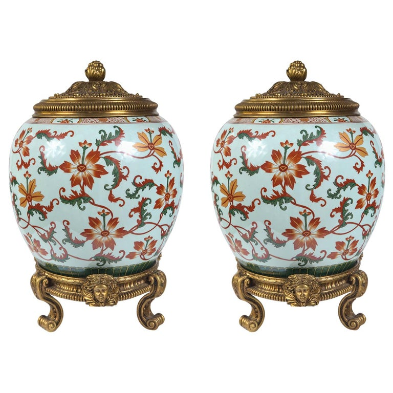 Pair of Asian Porcelain Covered Jars