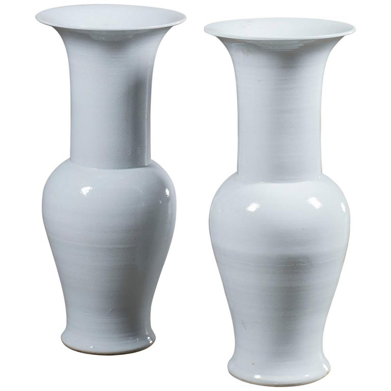 Pair Of Tall Modern White Ceramic Handmade Chinese Temple Vases For